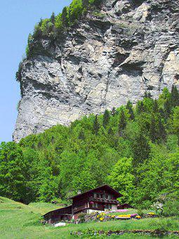 Rocks, Chalet, Forest, Mountain, Switzerland