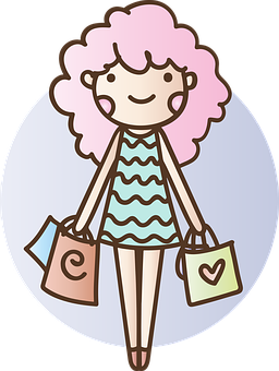 Purchase, Bag, Girl, Women, Dress, Happy, Rosa, Hair