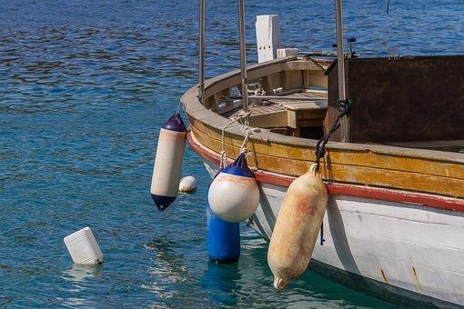 Boat, Fender, Sea, Anchor, Ship, Water, Blue, Port