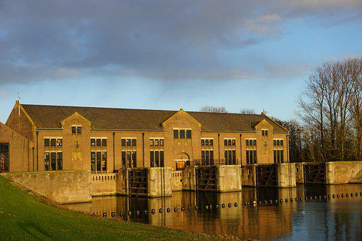 Hydroelectric Power Station, Holland, Sky, Old
