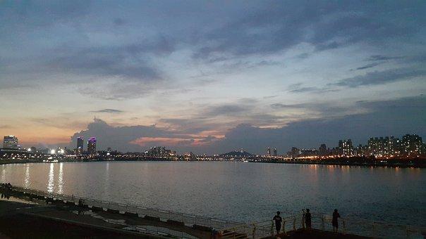 Korea, River, Sunset, Nature, Moon, Sun, River View