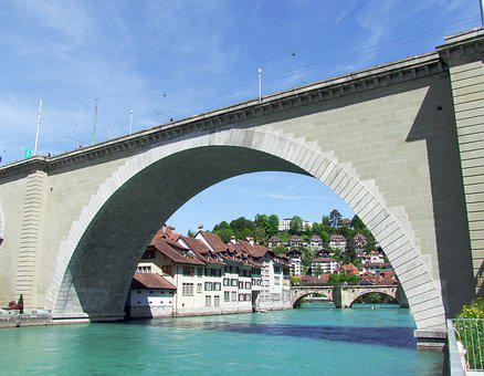 Bridge, River, Switzerland, Bern, Houses