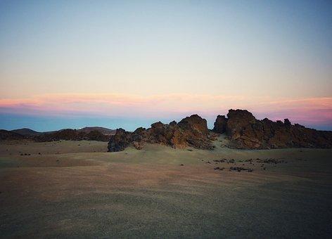 Lunar Landscape, Sunset, Observatory, Teide