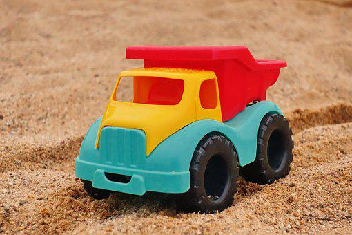 Truck, Vice, Toys, Sand, Beach, Sand Pit, Sand Box