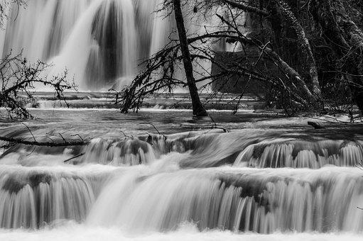Cascade, Winter, Ice, Water, Black, White, Tree, Nature