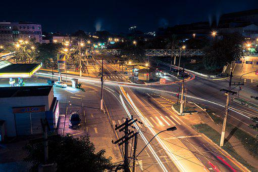 Long Exposure, City, Downtown, Night, Timelapse, Urban