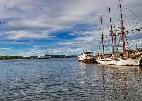 Norway, Ships, Ship, Water, Fjord, Cruise, Landscape