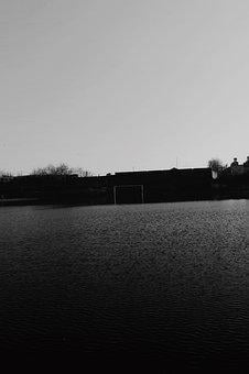 Water, Lake, Goal Post, Black, White