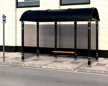 Bus Stop, Bus Shelter, Bank, Seat, Weather Protection