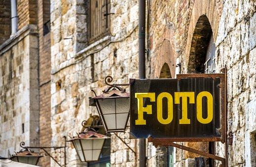 Facade, Advertising, Photo Business, Stones, Alley