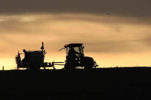 Tractor, Backlighting, Sunset