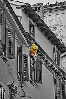 Spongebob, Sw, House, Black And White, House Facade