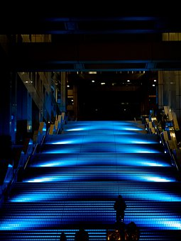 Illumination, Blue, Stairs, Night