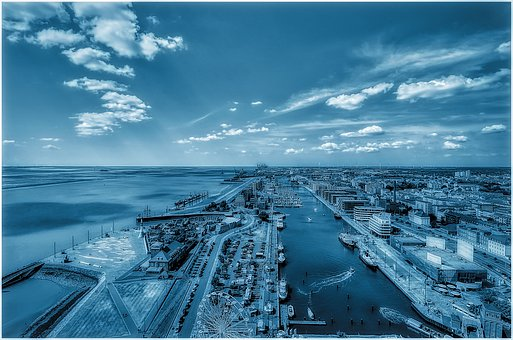 Bremerhaven, View, Blue, Coast, Weser Estuary, Seedeich