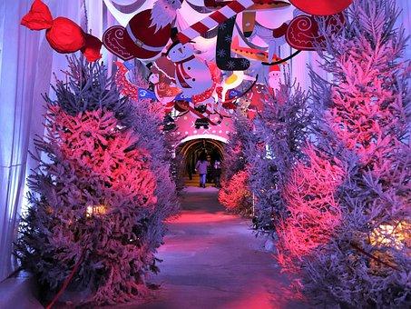 Christmas Decoration In Tunnel, Advent, Snowman, Fir
