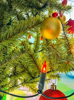 Christmas, Tree, Decoration, Lights, Spheres