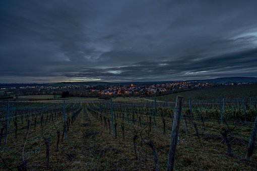 Vineyards, Village, Night, Dramatic, Wine, Mosel