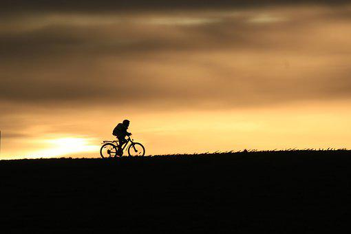 Cyclists, Silhouette, Sunset, Evening Sky, Hilly