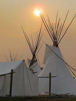 Tipi, Tippi, America, Evening, Sunset, Indians, Tent