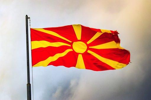 North Macedonia, Flag, Europe, Country, European