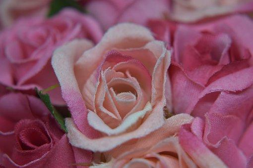 Rosa, Fabric, Decorative, Flower, Artificial, Romantica