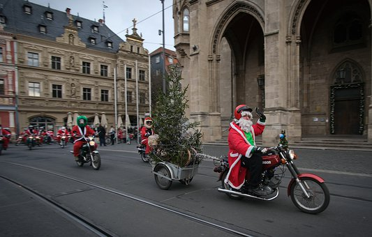 Moped, Simson, Santa Claus, Funny, Christmas, December