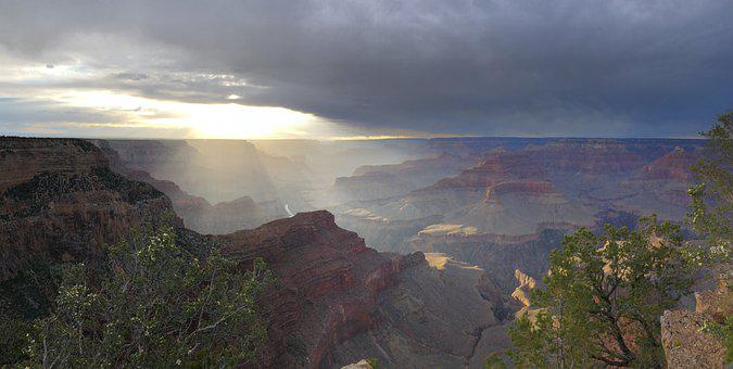 Canyon, Gand Canyon, Light, Twilight, Sunset, Landscape