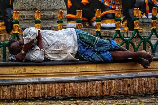 India, Man, Sleep, Wall, Homeless