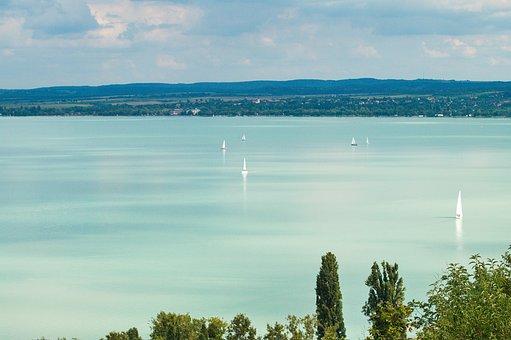Balaton, Hungary, Swim, Sailing Boats, Lake, Water