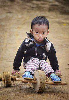 Baby, Boy, Play, Children, Wood Car, Winter, Landscape