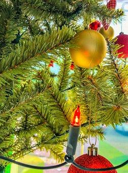 Christmas, Tree, Decoration, Lights, Spheres