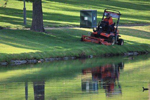 Orange, Ride On, Lawn Mower, Reflection, Adelaide