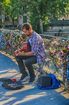 Guitarist, Singer, Street, Paris, Singer-of-street