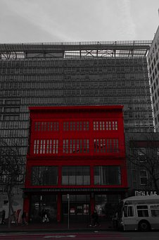Building, Red, Architecture, City, Facade, Bus
