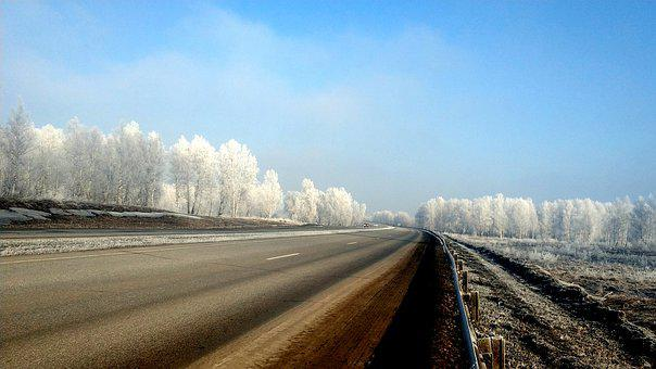Siberia, First Snow, Hoarfrost, Road