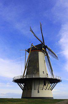 Windmill, Holland, Netherlands, Landscape, Mill, Sky