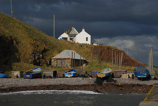 Cove Harbour, Beach, Fishing Boats, Sea, Stormy Sky