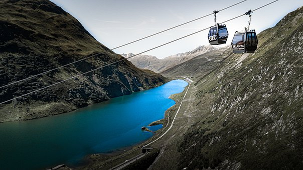 The Cable Car, Mountain, Switzerland, Drone, Panorama
