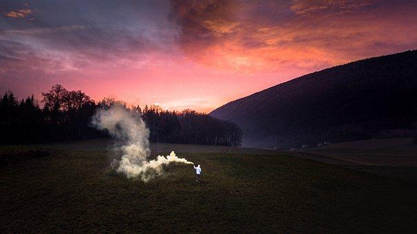 Smoke, Drone, Landscape, Switzerland