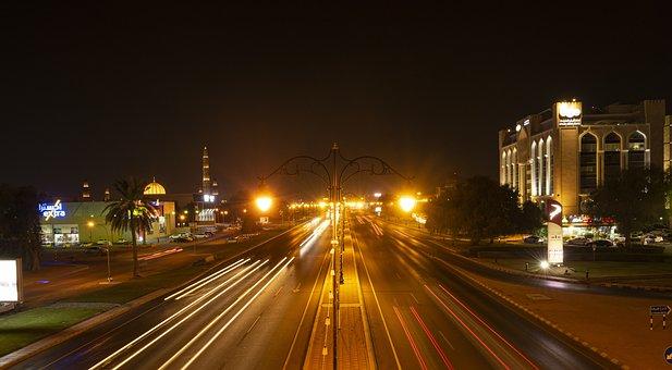 Lightpath, Night, Street, Traffic, Road, Neon, Oman