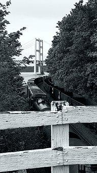 B W, Narrows, Tacoma, Railroad, Train, Roadway, Bridge