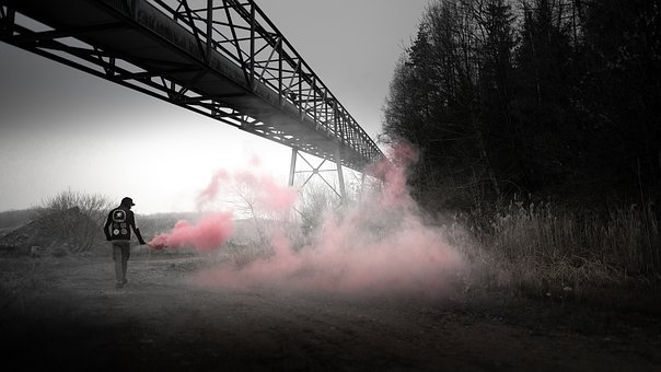 Smoke, Urbex, Industrial, Red, Urban, Abandoned, Old
