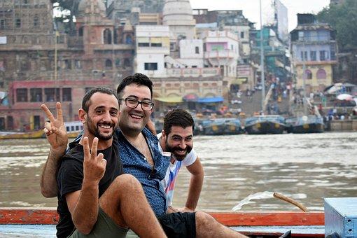 Travel, Travelers, Varanasi, Water, Vacation, Holiday