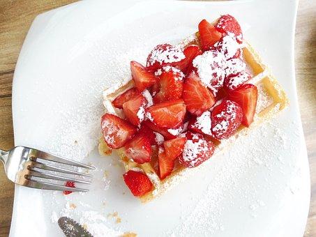 Waffle, Strawberries, Powdered Sugar