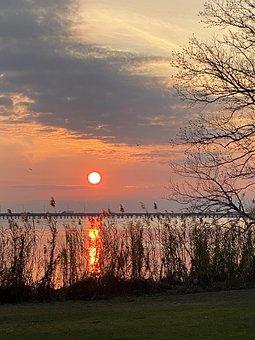 Sunset, Bay, Water, Sky, Nature, Outdoors, Sundown