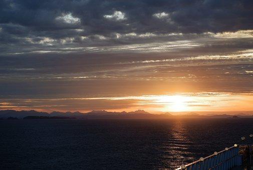 Landscape, West, Sun, Ocean