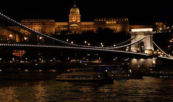 Night, Bridge, City, Budapest, Chain Bridge, Castle