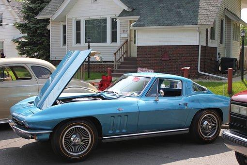 Car Show, Car, Blue, Classic, Automobile, Vehicle, Auto