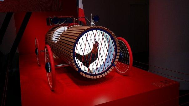 Art, Red, Car, Design, Graphics, Deco, Decoration, Hen