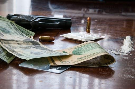 Gun, Money, Crime, Wooden, Table, Drugs, Forbidden